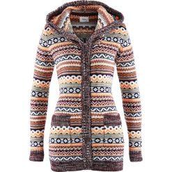 Sweter rozpinany z kapturem bonprix wzorzysty. Szare kardigany damskie bonprix. Za 99,99 zł.