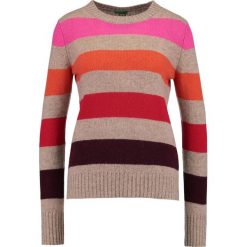 Swetry damskie: Benetton Sweter stripes beige/red/pink