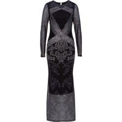 Sukienka z połyskującymi kamieniami bonprix czarno-srebrny z nadrukiem. Czarne sukienki balowe marki bonprix, z nadrukiem. Za 89,99 zł.