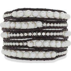 Bransoletki damskie: Skórzana bransoletka w kolorze brązowo-białym z perłami słodkowodnymi