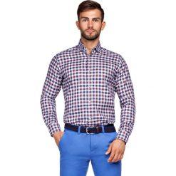 Koszula w Kratę Fidelia. Czerwone koszule męskie na spinki LANCERTO, m, z bawełny. Za 299,90 zł.