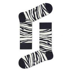 Skarpety Happy Socks Zebra (ZEB01-1000). Białe skarpetki męskie Happy Socks, z motywem zwierzęcym, z bawełny. Za 23,99 zł.