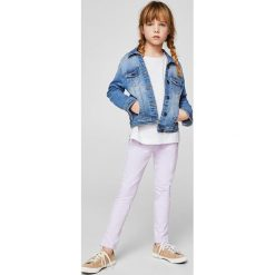 Mango Kids - Spodnie dziecięce Poly2 110-164 cm. Szare rurki dziewczęce marki Mango Kids, z bawełny. W wyprzedaży za 49,90 zł.