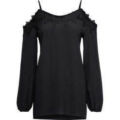 Bluzka z wycięciami na ramionach bonprix czarny. Czarne bluzki z odkrytymi ramionami marki bonprix, z koronki. Za 89,99 zł.
