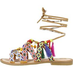 """Rzymianki damskie: Skórzane sandały """"Satanta"""" z kolorowym wzorem"""