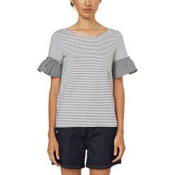 Bluzki, topy, tuniki: Koszulka w paski, okrągłe wycięcie szyi, krótki rękaw z falbanami