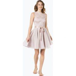 Swing - Damska sukienka koktajlowa, beżowy. Brązowe sukienki hiszpanki Swing, w koronkowe wzory, z koronki, wizytowe, z gorsetem, gorsetowe. Za 599,95 zł.