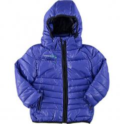 Kurtka w kolorze niebieskim. Niebieskie kurtki dziewczęce przeciwdeszczowe marki Peak Mountain, na zimę, z polaru. W wyprzedaży za 172,95 zł.