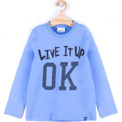 Koszulka. Niebieskie t-shirty chłopięce z długim rękawem BASIC BOY, z aplikacjami, z bawełny. Za 29,90 zł.