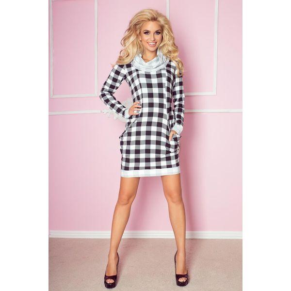 7219c002aa Francesca Golf - sukienka z dużymi kieszeniami - czarno biała krata ...