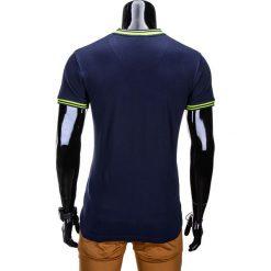 T-SHIRT MĘSKI BEZ NADRUKU S661 - GRANATOWY. Niebieskie t-shirty męskie z nadrukiem Ombre Clothing, m, z bawełny, z kontrastowym kołnierzykiem. Za 29,00 zł.