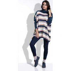 Swetry oversize damskie: Granatowy Sweter Oversizowy w Paski z Golfem