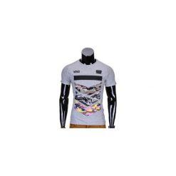 T-shirty męskie: T-SHIRT MĘSKI Z NADRUKIEM S777 – SZARY