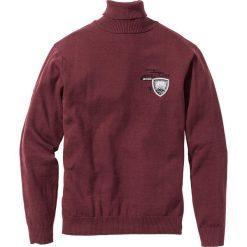 Sweter z golfem Regular Fit bonprix czerwony klonowy. Czerwone golfy męskie marki bonprix, l, z haftami. Za 74,99 zł.