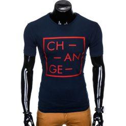 T-SHIRT MĘSKI Z NADRUKIEM S991 - GRANATOWY. Czarne t-shirty męskie z nadrukiem marki Ombre Clothing, m, z bawełny, z kapturem. Za 19,99 zł.