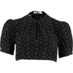 Bluzka ludowa z ażurowej koronki bonprix czarny. Czarne bluzki ażurowe marki bonprix, z koronki. Za 79,99 zł.