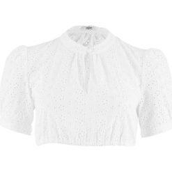 Bluzki damskie: Bluzka ludowa z ażurowej koronki bonprix biały