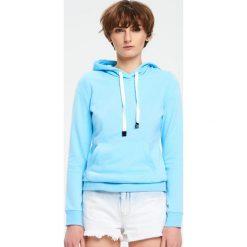 Bluzy damskie: Gładka bluza z kapturem – Niebieski