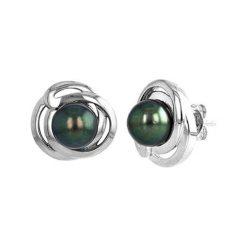 Biżuteria i zegarki: Srebrne kolczyki z perłami Tahiti