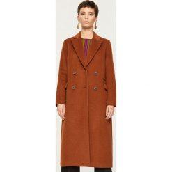 Płaszcz z domieszką wełny - Brązowy. Brązowe płaszcze damskie pastelowe Reserved, z wełny. Za 399,99 zł.