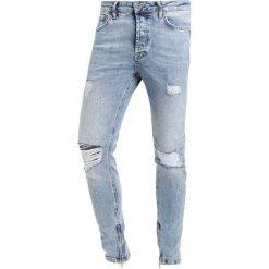 Topman ACID WASH RIP ZIP Jeans Skinny Fit blue. Niebieskie jeansy męskie Topman. Za 249,00 zł.