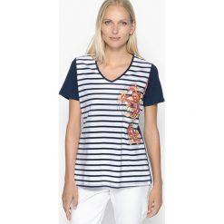 T-shirty damskie: Wzorzysty t-shirt z dekoltem w serek, bawełna czesana