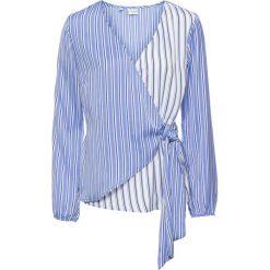 Bluzki damskie: Bluzka z założeniem kopertowym: MUST HAVE bonprix biało-niebieski w paski