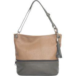 Torebki klasyczne damskie: Skórzana torebka w kolorze szaro-szarobrązowym – 35 x 50 x 12 cm