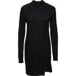Długi sweter z rozcięciami bonprix czarny. Czarne swetry klasyczne damskie bonprix. Za 79,99 zł.