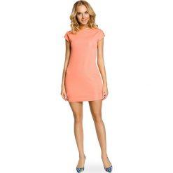 Sukienki balowe: Mini sukienka – tunika ze złotymi ćwiekami – koralowa
