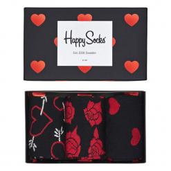 Skarpety Happy Socks Gift Box Valentines (XVAL08-9000). Czarne skarpetki męskie Happy Socks, z bawełny. Za 69,99 zł.