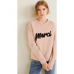 Mango - Bluza Merci. Różowe bluzy rozpinane damskie Mango, l, z nadrukiem, z bawełny. Za 119,90 zł.