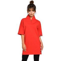 Bluzki, topy, tuniki: Czerwona Tunika Kimonowa z Wysokim Kołnierzem