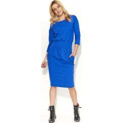 Odzież damska: Chabrowa Sukienka Bombka z Kieszeniami