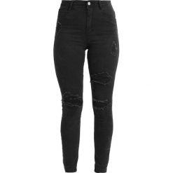 Missguided SINNER HIGHWAISTED AUTHENTIC RIPPED  Jeans Skinny Fit dark grey. Czarne jeansy damskie marki Missguided, z bawełny. Za 169,00 zł.