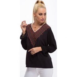 Bluzki damskie: Czarna koszulowa bluzka 8533