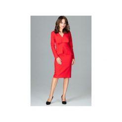 Sukienka K491 Czerwony. Zielone sukienki z falbanami marki Mohito, l, z wykładanym kołnierzem. Za 189,00 zł.