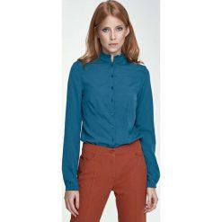 Bluzki damskie: Lazurowa Bluzka Koszulowa ze Stójką