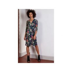 Kopertowa sukienka w kwiatki, SUK152. Szare sukienki na komunię marki Lanti, do pracy, uniwersalny, w kwiaty, biznesowe, z kopertowym dekoltem, kopertowe. Za 169,00 zł.