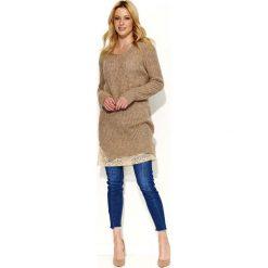 Odzież damska: Cappuccino Sweter Tunika z Koronkową Wypustką