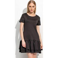 Sukienki: Czarna Kobieca Sukienka z Podwójną Falbanką
