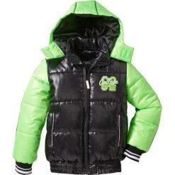 Kurtka bomberka z odpinanym kapturem bonprix czarno-zielony neonowy. Czarne kurtki chłopięce sportowe marki Roxy, na zimę. Za 79,99 zł.