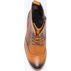 Jana - Botki. Brązowe buty zimowe damskie Jana, z materiału, na sznurówki. W wyprzedaży za 239,90 zł.