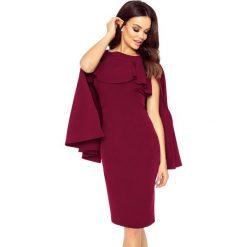 Sukienki: ESME sukienka z baskinką i peleryną bordowy