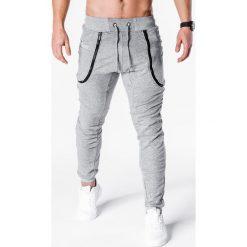 SPODNIE MĘSKIE DRESOWE P426 - SZARE. Szare spodnie dresowe męskie Ombre Clothing, z bawełny. Za 35,00 zł.