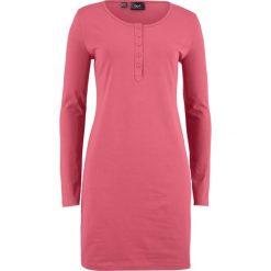 Sukienka shirtowa z plisą guzikową bonprix dymny malinowy. Czerwone sukienki z falbanami marki bonprix, plisowane. Za 32,99 zł.