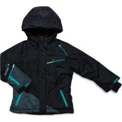 Kurtka narciarska w kolorze czarno-szarym. Czerwone kurtki dziewczęce przeciwdeszczowe marki Peak Mountain, z aplikacjami, z materiału. W wyprzedaży za 202,95 zł.