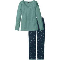 Piżamy damskie: Piżama bonprix niebieskozielono – ciemnoniebieski z nadrukiem