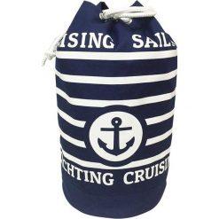 """Torba plażowa """"Nautica"""" w kolorze granatowo-białym - wys. 54 x Ø 29 cm. Białe shopper bag damskie Le Comptoir de la Plage, z bawełny. W wyprzedaży za 38,95 zł."""