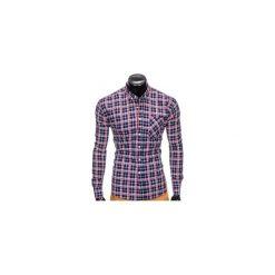 KOSZULA MĘSKA W KRATĘ Z DŁUGIM RĘKAWEM K396 - GRANATOWY/CZERWONY. Czerwone koszule męskie na spinki Ombre Clothing, m, z długim rękawem. Za 49,00 zł.